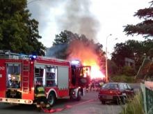 Na Zaodrzu spłonął drewniany garaż