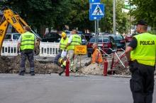 Robotnicy uszkodzili gazociąg na ul. Kościuszki