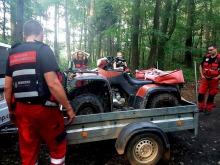 Ratownicy - wolontariusze proszą o pomoc. W trakcie akcji zepsuł się quad.