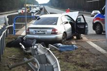 Wypadek na autostradzie A4. W akcji śmigłowiec LPR.