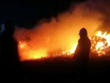 Pożar stogu siana w Schodni