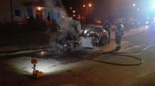Pożar mini coopera na ulicy Jankowskiego w Opolu