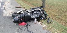Wypadek z udziałem motocyklisty w Suchej