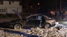 Wieczorny pożar samochodu przy ulicy Budowlanych w Opolu