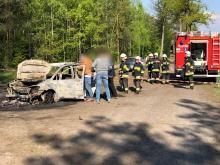 Pożar samochodu w okolicach Krzywej Góry. Spłonęło małżeństwo z Chin? To wskaże badanie DNA