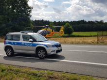 Ciężarówka potrąciła pieszego na DK 11 w Kluczborku. Lądował śmigłowiec LPR