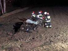 Dwie osoby ranne po dachowaniu pojazdu w Zimnicach Wielkich
