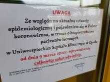 Koronawirus. Uniwersytecki Szpital Kliniczny w Opolu wprowadza całkowity zakaz odwiedzin!