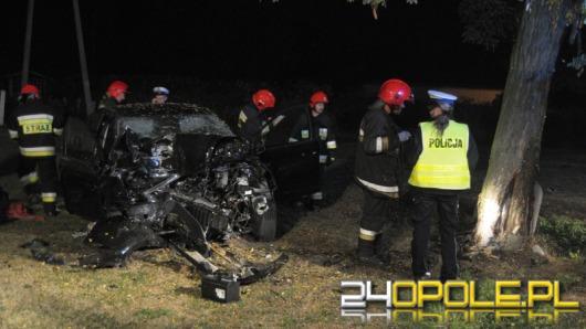 Pijany kierowca rozbił się wracając z wesela