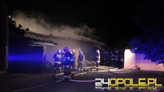 Pożar magazynów w Kępie