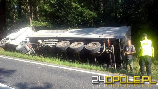 Ciężarówka przewróciła się w lesie pod Dąbrową