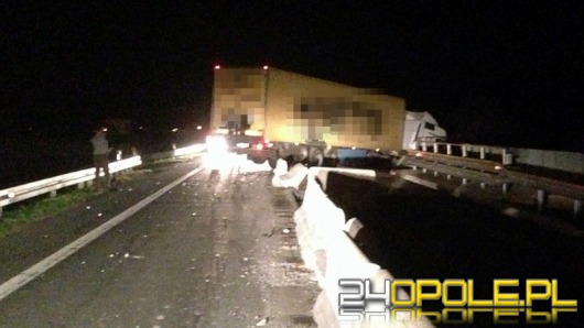 Kierowca ciężarówki zasnął za kierownicą i wjechał w bariery