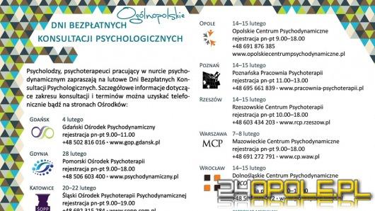 Bezpłatne konsultacje psychologiczne w ten weekend