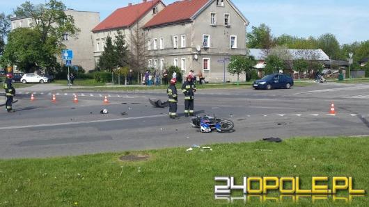 Motocyklista zabrany helikopterem do szpitala po wypadku w Brzegu