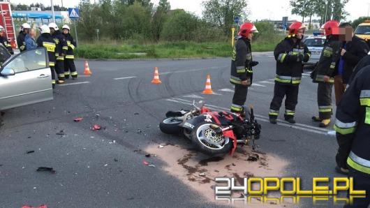 Motocyklista ranny w wyniku zderzenia z samochodem