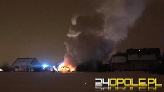 5 zastępów straży pożarnej gasiło pożar zabudowań gospodarczych