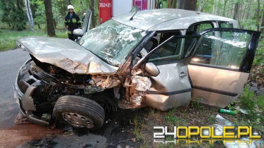 Wypadek na trasie Kup-Murów. Auto osobowe uderzyło w drzewo
