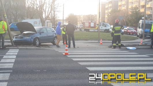 Audi staranowało znaki na ulicy Witosa