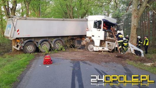 Ciężarówka uderzyła w drzewo, kierowca w ciężkim stanie w szpitalu