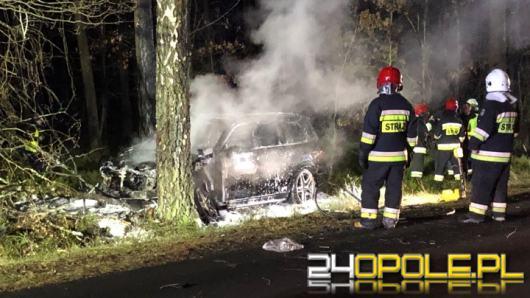 Auto uderzyło w drzewo i stanęło w płomieniach