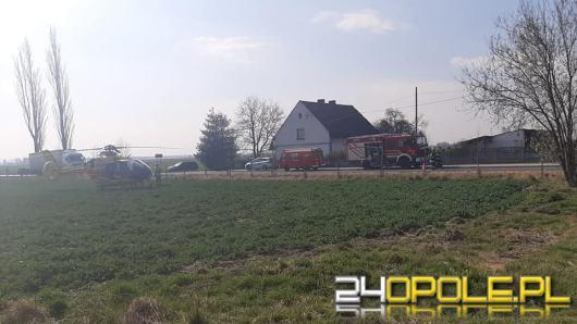 Dramatyczna akcja ratownicza w Wierzbiu. Glebogryzarka wciągnęła nogi mężczyźnie
