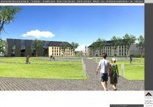 Docelowo do rektoratu ma zostać dobudowana druga część (tutaj czarna, przeszklona elewacja).