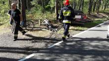 Zderzenie motocykla i osobówki na DK 45. Nie żyje kobieta