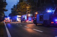 Zablokowana DK 46 po zderzeniu trzech samochodów ciężarowych