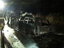Samochód osobowy spłonął na drodze wojewódzkiej nr 414