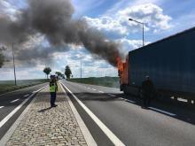 Pożar samochodu ciężarowego w Kuniowie