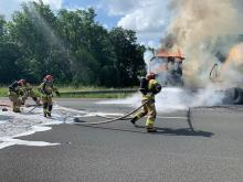 Ciągnik siodłowy płonął na autostradzie A4