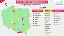 """Nowe powiaty w """"czerwonych"""" i """"żółtych"""" strefach. Kilka powiatów na liście ostrzegawczej"""