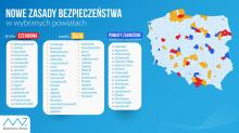 """Od soboty aż 16 """"czerwonych powiatów"""" i 28 żółtych. Maseczki obowiązkowe w obu strefach"""