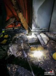 Pożar mieszkania w Dobrodzieniu.