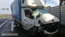 Wypadek na obwodnicy Dobrodzienia. Zderzyły się samochody ciężarowe, dostawczy i osobówka