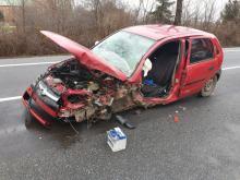 Zderzenie samochodu osobowego i ciężarowego w Małujowicach