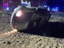 Wypadek w Chróścinie. Auto wypadło z drogi, kierowca pijany