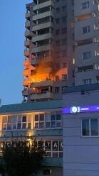 Pożar w bloku przy pl Józefa Piłsudskiego w Opolu