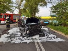 Zderzenie 3 pojazdów w powiecie oleskim. 4 osoby ranne