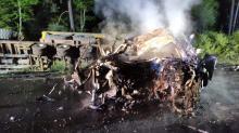 Śmierć na miejscu po czołowym zderzeniu i pożarze. Wypadek w Zawadzkiem