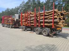 Kolejny przeładowany pojazd przewożący drewno