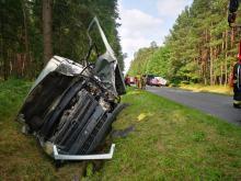 Dwa samochody ciężarowe i bus dostawczy zderzyły się w powiecie kluczborskim