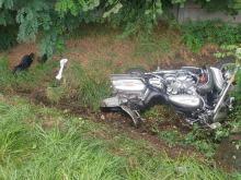 Zderzenie motocykla i osobówki w Skorogoszczy