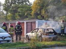 Na osiedlu Chabrów doszczętnie spłonął samochód