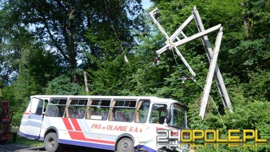 Autobus wiozący dzieci uderzył w słup