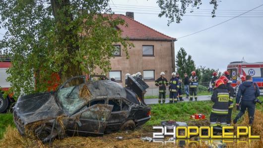 Pijany kierowca wylądował na drzewie. Cztery osoby w szpitalu