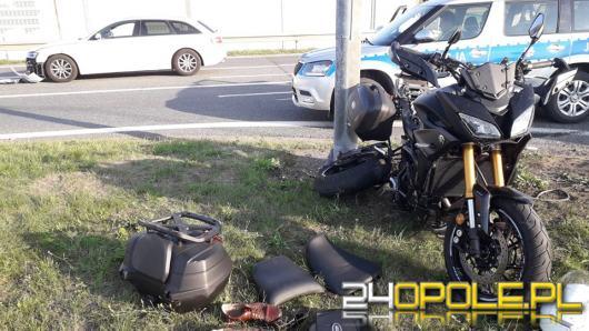 Motocyklista ucierpiał po zderzeniu z audi na obwodnicy Dobrodzienia