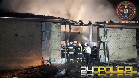 Policja bada przyczyny nocnego pożaru w Gołej. Spłonął budynek ze sprzętem rolniczym
