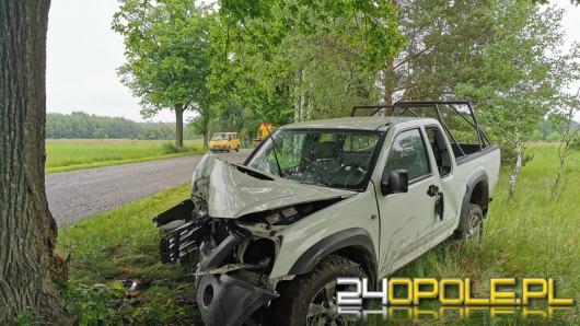 Kierowca osobówki podczas wyprzedzania uderzył w drzewo. Wypadek w gminie Murów