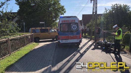 Zderzenie motocykla z busem w Chmielowicach. Dwie osoby w szpitalu